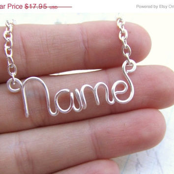 Wire Name Necklace Personalized Your Metal Choice Silver Gold Copper Any Word up to 9 Letters Word Necklace Bridesmaid Jewelry Gift Under 20