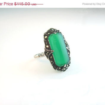 Vintage Art Deco Ring Sterling Silver Marcasite Chrysoprase Gemstone Green Chalcedony Size 5.75 1920s Made in Germany Jewelry