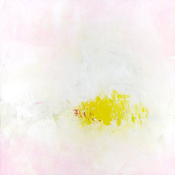 Acrylic Painting Original Abstract Art 12x12 Pink Yellow White contemporary art on canvas