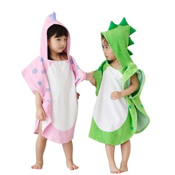 Hooded Dinosaur Cartoon Towel For Kids
