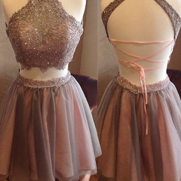 Two Piece Spaghettis Straps Lace Halter Neck Homecoming Dresses, Short Prom Dress