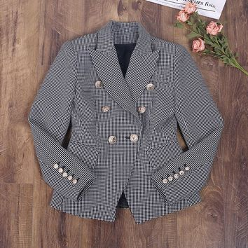 New 2017 autumn winter fashion women plaid blazer double breasted gold color buttons slim blazers outerwear