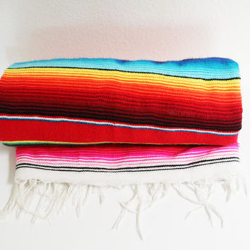 70s MEXICAN SERAPE BLANKET // vintage 1970s rug tapestry rainbow red bright southwest southwestern retro poncho stripes striped throw beach