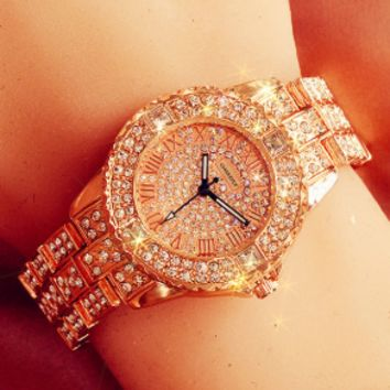 OMEDLY Tide brand women's high-end full diamond casual wild quartz watch Rose gold