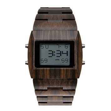 MEKU Mens Handmade Natural Rosewood Wood Watch with LED Display Chocolate