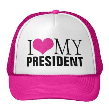 I LOVE MY PRESIDENT WOMEN'S PINK TRUCKER HAT