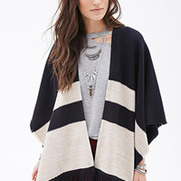 Striped Open-Front Fringed Poncho