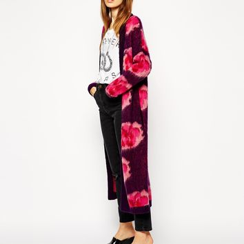 ASOS Longline Cardigan In Brushed Mohair With Floral Pattern