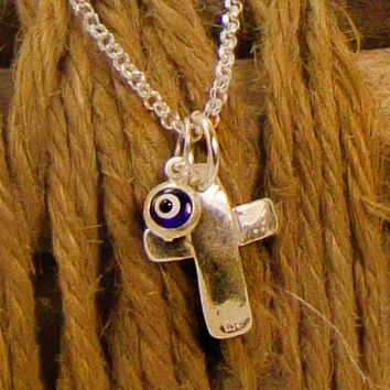 Silver Cross Necklace, 925 Silver Cross Pendant Necklace, Blue Evil Eye Charm, Greek Mati