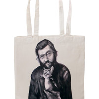 Handpainted tote bag Julio Cortazar with cat Fanart custom eco friendly bag
