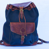 Vintage Timberland Two-Tone Drawstring All Leather Backpack/Rucksack.Made In USA.