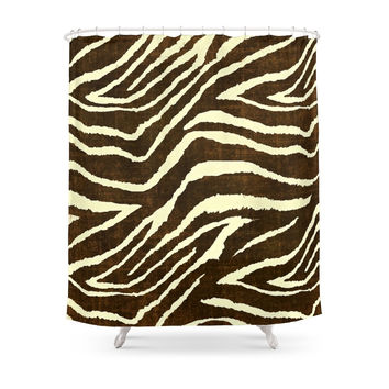 Society6 Animal Print Zebra In Winter Brown And Beige Shower Curtains