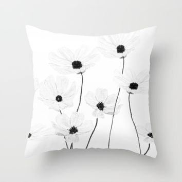 black and white cosmos  Throw Pillow by Color and Color