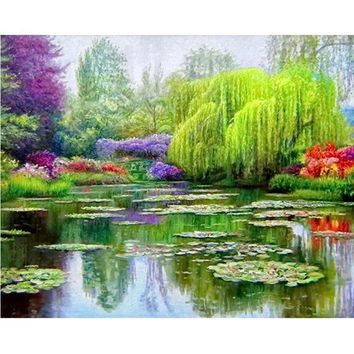 5D Diamond Painting Weeping Willow by the Pond Kit
