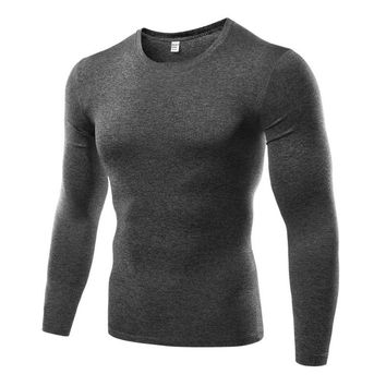 Plus Size Men's Quick Dry Breathable Fitness T-shirts Compression Base Layer  Long Sleeve Trainning Exercise T-shirts