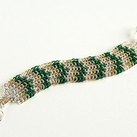 Colourful Chainmaille Bracelet Green Brass Silver by Spoon37