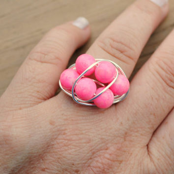 Wire Wrapped Ring Bright Pink Beaded Cluster