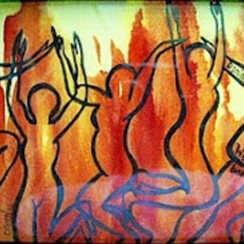 "Abstract Art Print, Christian Art,  Digital Art Print, Colorful Pring, Flames, Dancers - ""We Will Not Bow"""