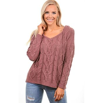Mauve Cable Knit Hooded Sweater