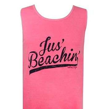 Girlie Girl Originals Jus Beachin Neon Pink Bright Tank Top