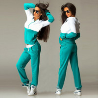 Hooded Zipper Top Long Pants Patchwork Activewear Set