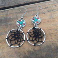 Teal Mandala Dream Catcher Earrings