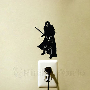 Jon Snow Light Switch Decal - Game Of Thrones - Laptop Sticker - Winter is Coming iPhone Sticker - King of the North Decor - got Stark Gift