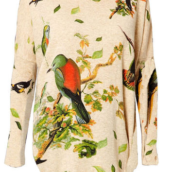 Birds in branches japanese print top jumper knitwear shirt womens ladies cardigan