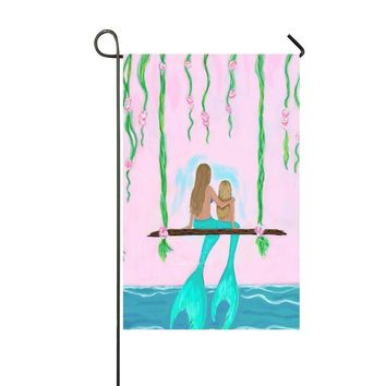 Blue Tail Mother And Daughter Mermaid Swing 12.5x18 Inch Garden Flag - Double Sided Holiday Decorative Outdoor House Flag