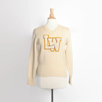 Vintage 60s Varsity SWEATER / 1960s Letterman Wool Pullover Patches M