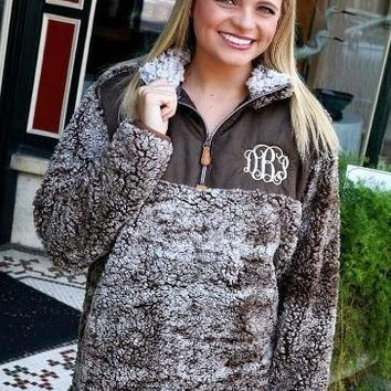 KIDS Monogrammed Deluxe Sherpa Fuzzy Pullover WITH PATCH - True Grit, Uplander, Frosty Snowy Tip
