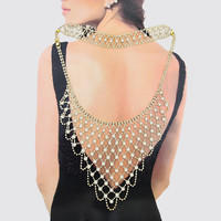"""12"""" gold faux pearl choker collar back necklace body chain 7"""" drop"""