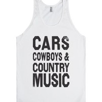 Cars Cowboys And Country Music Tank-Unisex White Tank