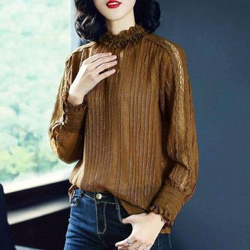 Europe New 2018 Spring Women's Fashion Casual Loose Flare Sleeve Ruffled Collar T Shirt Tops Female Plus Size Shirts Brand Tees