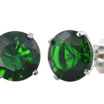 Emerald Stud Earrings .925 Silver CZ May Birthstone Round BASKET
