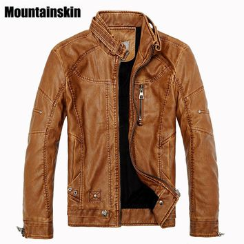 Mountainskin 2017 Winter Men's Leather Jackets Casual Men Vintage Motorcycle PU Faux Jacket Male Moto Coats Brand Clothing SA086