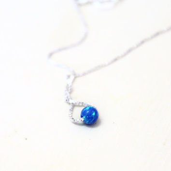 Opal necklace, opal bead necklace, tiny opal necklace ,ball necklace, dot opal necklace