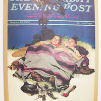Vintage Camping Art 1938 Saturday Evening Post Cover, Vintage Color Print of Boys Camping, Flyswatter After Fly Print, Americana Art Print