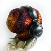 Slouchy Gaming Beanie - Sassy Pepper - Red Orange Brown Purple Yellow Womens Girls hat - Under Headset Soft Thin Crochet