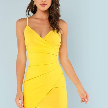 Canary Yellow Surplice Ruched Asymmetrical Hem Slip Dress & Other Colors