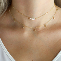 Gold Dust Drop Necklace - Christine Elizabeth Jewelry