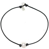 Freshwater Single Pearl Necklace Choker on Genuine Leather Cord Jewelry for Women 15'' Black