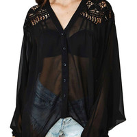 Black Floral Crochet Oversized Blouse