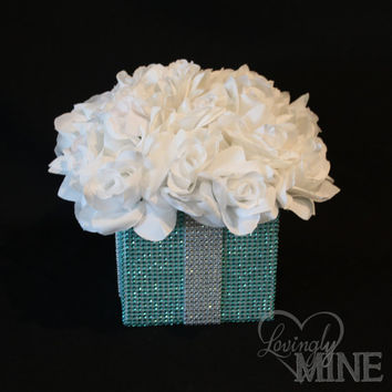 Centerpiece  Tiffany Co Inspired BLING Box with by LovinglyMine