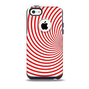 The Red & White Hypnotic Swirl Skin for the iPhone 5c OtterBox Commuter Case