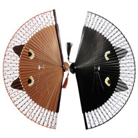 Shop Crazy Cats Vintage Japanese Bamboo Silk Hand Fan 21x38cm - Free Shipping