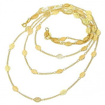 Gold Layered 06.09.0001.24 Fancy Necklace, Leaf and Filigree Design, Polished Finish, Golden Tone