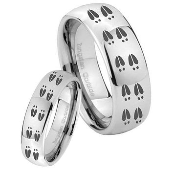 His Her Classic Mirror Dome Deer Tracks Tungsten Carbide Silver Rings Set