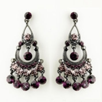 Antique Silver Amethyst Austrian Crystal Chandelier Bridal Earrings 9244