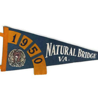 Vintage Felt Pennant / Natural Bridge, Virginia / 1950 / Road Trip Collectibles